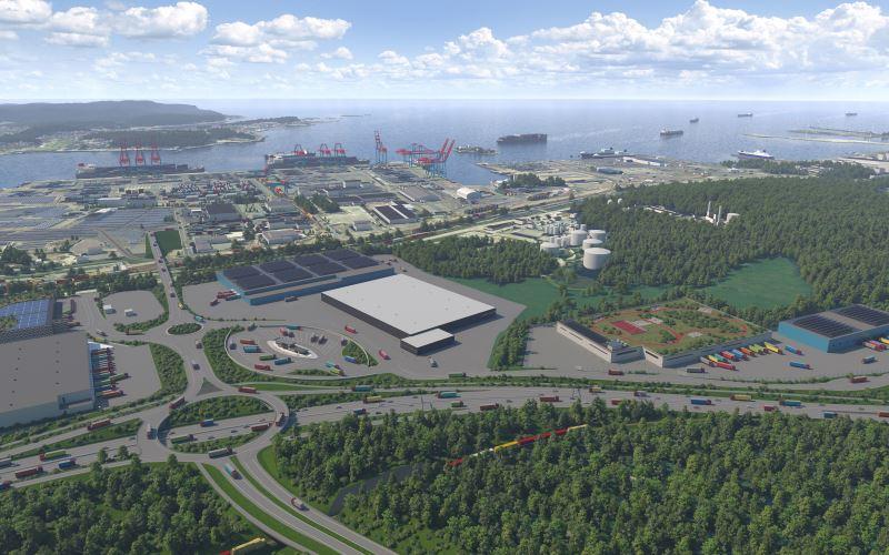 Fem bolag satsar samtidigt i den nya jättelogistikparken vid Göteborgs hamn. Första kontraktet kan skrivas innan nyår. Bild Port of Gothemburg logistics park.
