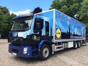 Svebol kör bl  a nattransporter med tystgående elbilar till Lidls butiker i Stockholms innerstad. Foto Svebol