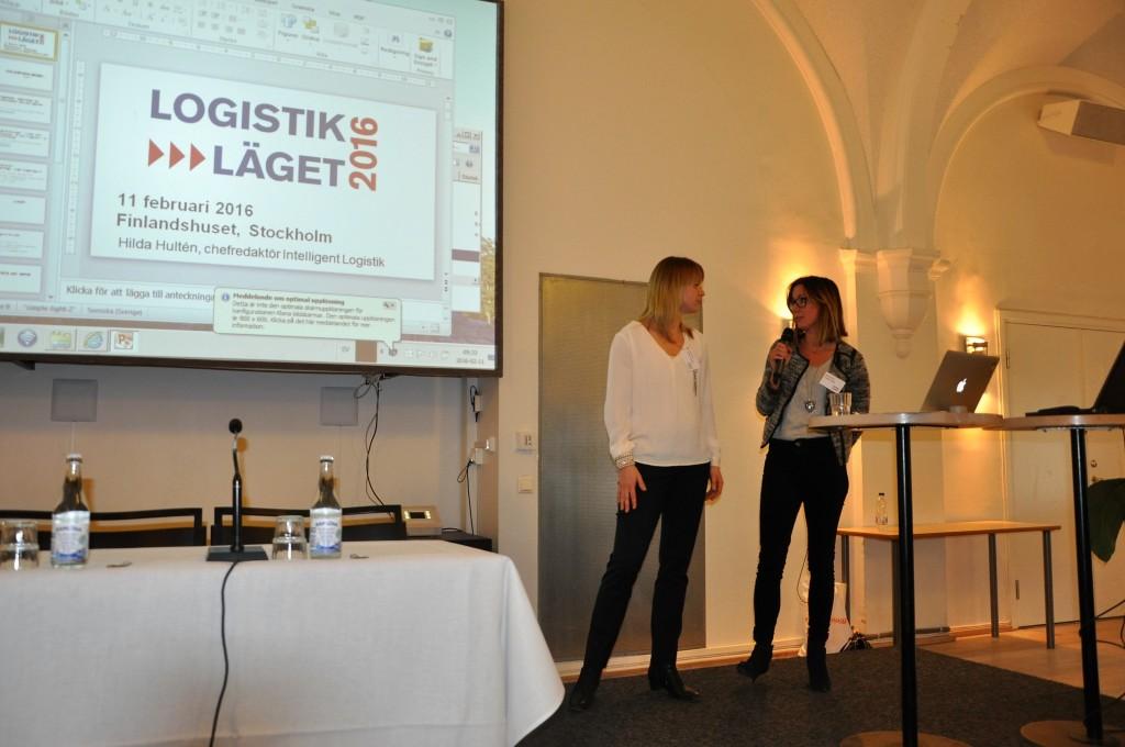 Dagens moderator Hilda Hultén, Intelligent Logistik, frågar Ebba Kilman t.h om vår alltmer uppkopplade logistik.
