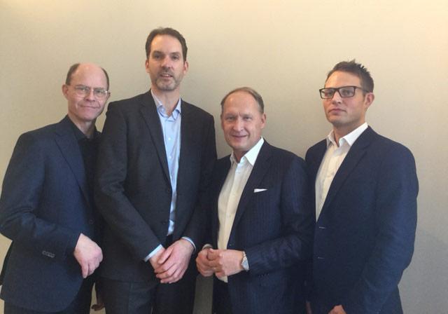 På bilden ser vi styrelsen i Logistikfastigheter Sverige AB: Från höger: Frans Heijbel Alecta, Joakim Hedin Bockasjö AB, Thomas Dansk Alecta och Paul Frankenius Bockasjö AB