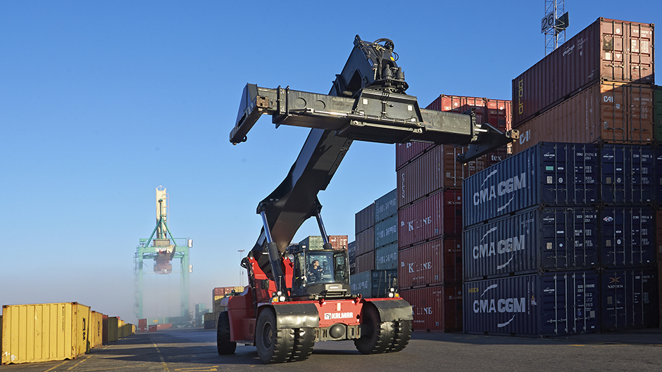Containerterminalen i Frihamnen. Foto Stockholms Hamnar