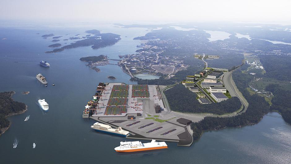 Illustration av hur Norviks hamn ska se ut när den är klar. Bild Stockhoms Hamnar.