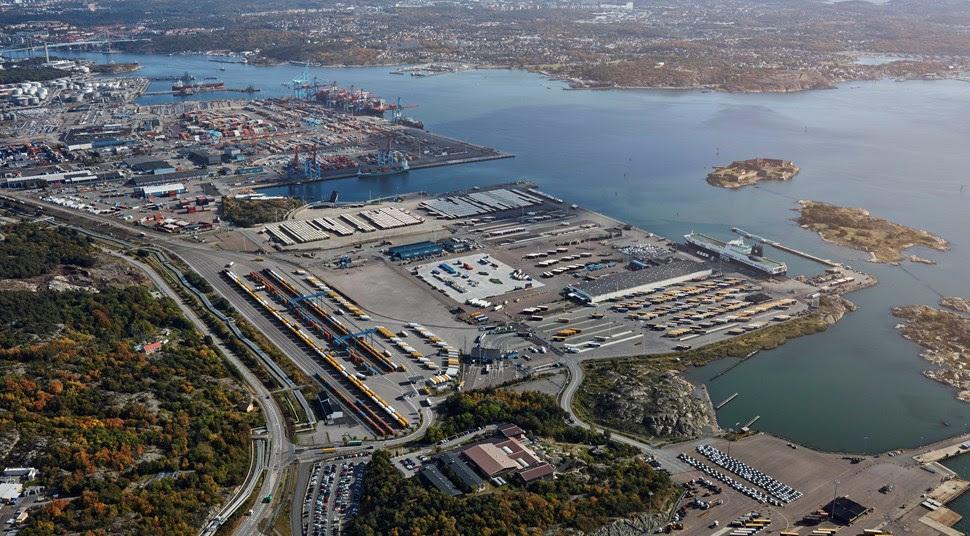 Foto Göterborgs hamn. Visionsbild över kombiterminalen i Göteborgs Hamn. Bilden visar hur terminalen kommer att se ut när den är fullt utbyggd 2019-2020.