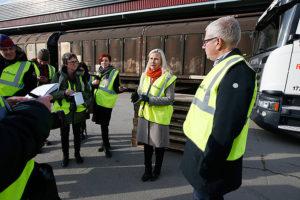 Infrastrukturminister Anna Johansson presenterade godspropositionen vid en pressträff hos åkeriet Road Cargo i Årsta. Foto: Ninni Andersson/Regeringskansliet