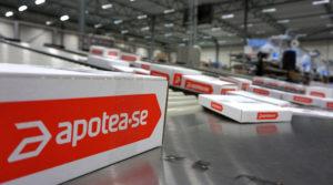 I höstas levererade Apotea omkring 70 000 paket i veckan från lagret i Morgongåva.Nu är man uppe i över 20 000 paket om dagen. Foto Apotea