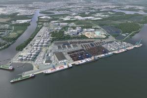 2018 blir det byggstart för Norrköpings utbyggda containerhamn i Pampushamnen som kommer att fördubbla kajkapaciteten och beräknas stå färdig år 2023-2024. Foto: Norrköpings hamn