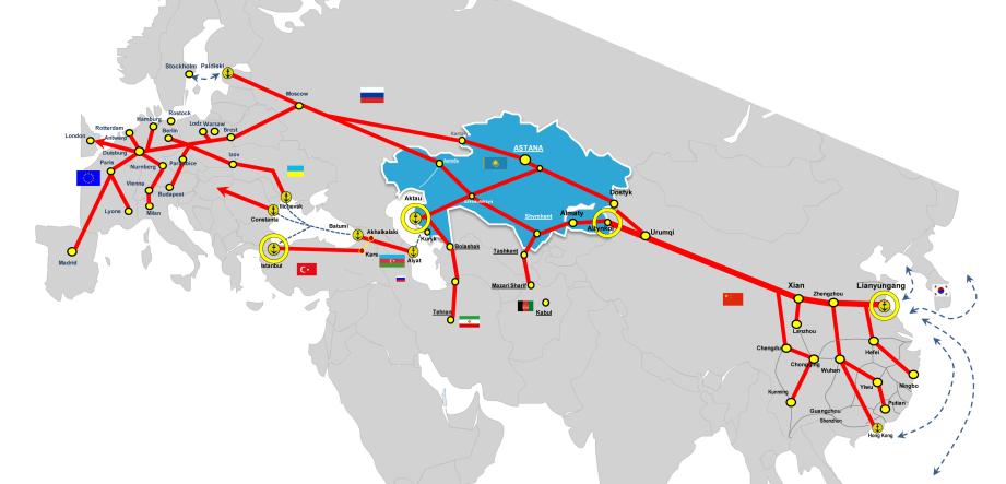 Kazakstan är aktiva i upprustningen av landtarnsopprtet mellan Asien och Europa.