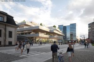 Stockholm får en ny mötesplats i form av ett stort torg ovanför spårområdet. Bild: Jernhusen