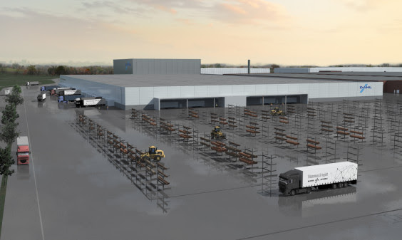 Dahl bygger nytt, 60 000 kvm stort centrallager i Bro. Foto: Dahl.